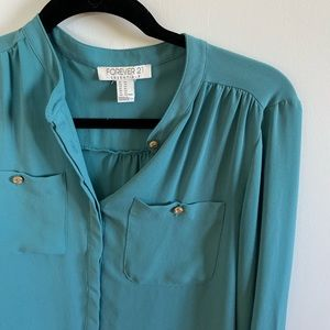 Forever 21 • teal blouse with gold button details